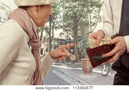Wealthy businessman gives a woman the money. Vintage style