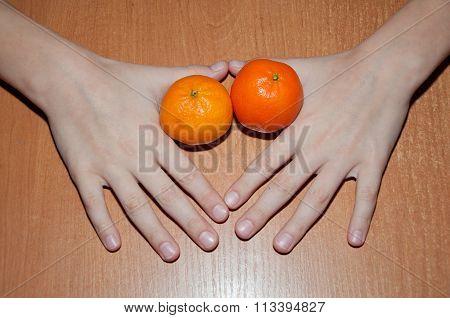 Mandarin Citrus Tangerine On The Table