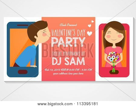 Creative invitation card design with illustration of cute couple on smartphone for Valentine's Day Party celebration.