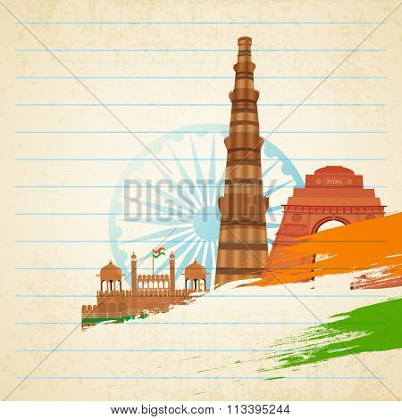 Creative Historical Monuments with saffron and green colour paint strokes on Ashoka Wheel decorated notebook paper background for Happy Indian Republic Day celebration.