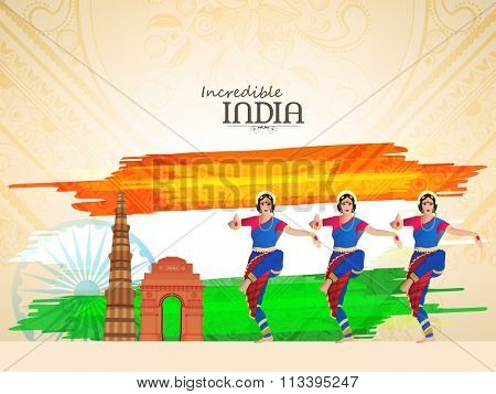 Beautiful classical dancers with historical monuments on creative floral design decorated background for Happy Indian Republic Day celebration.