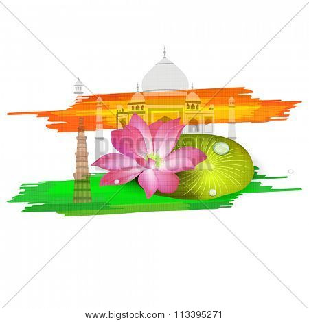 Indian National Flower Lotus with Historical Monuments on saffron and green colour stroke background for Happy Republic Day celebration.