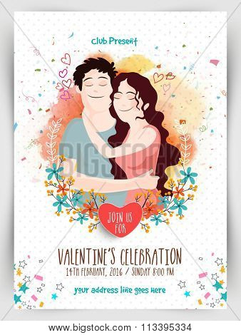 Creative Flyer, Banner or Pamphlet design with illustration of young couple hugging each other for Valentine's Day Party celebration.