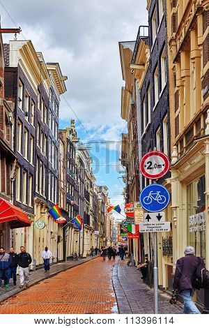 Amsterdam, Netherlands-september 15, 2015 :beautiful Views Of The Streets, Ancient Buildings Of Amst
