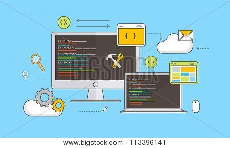 Web Development concept with various devices and infographic elements on blue background.