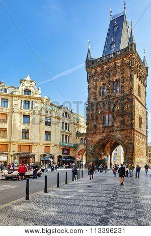 Prague,czech Republic- September 13, 2015: Powder Tower Or Powder Gate In A Centre Of Old Town Pragu