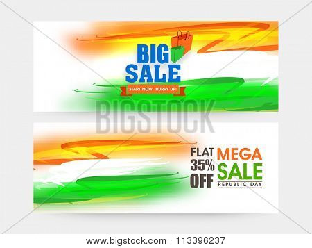 Big Sale website header or banner set in National Flag colours with 35% discount offer for Indian Republic Day celebration.