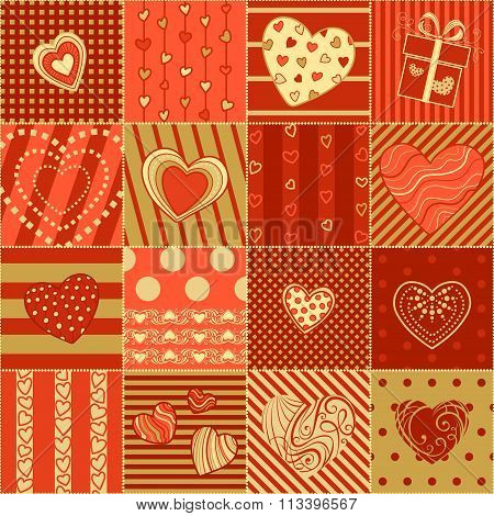 Vector Red And Gold Seamless Hearts Pattern.