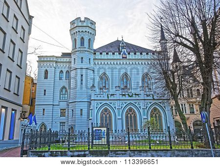 House of Small guild in the Old city in Riga in Latvia in winter