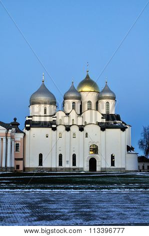 Saint Sophia Cathedral In Veliky Novgorod, Russia - Main Facade View