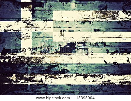 flag of Greece painted on brick wall