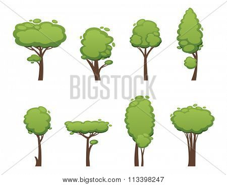 Nature vector cut tree design elements. Vector tree flat silhouette isolated on white. Tree different size and forms. Tree icons set. Tree constructor. Eco nature collection tree. Leaves, tree. Tree