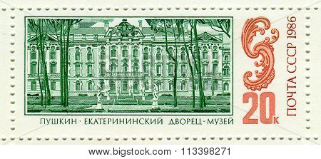 USSR - CIRCA 1986: A stamp printed in USSR shows image of The Catherine Palace is a Rococo palace located in the town of Tsarskoye Selo (Pushkin), 25 km south of St. Petersburg, Russia, circa 1986.