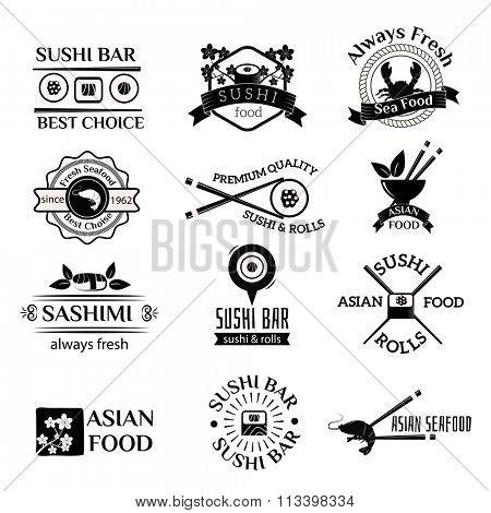 Sushi logo icons vector set. Sushi black silhouette logo sign design elements. Sushi logos, badges, label icons vector isolated on white. Sushi logotype isolated on white. Sudhi asia food icons