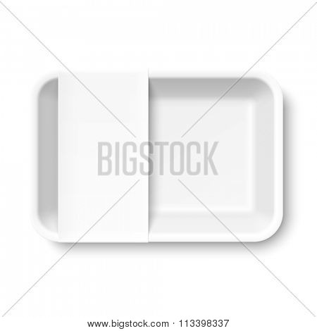 White empty styrofoam food tray with blank label, vector illustration