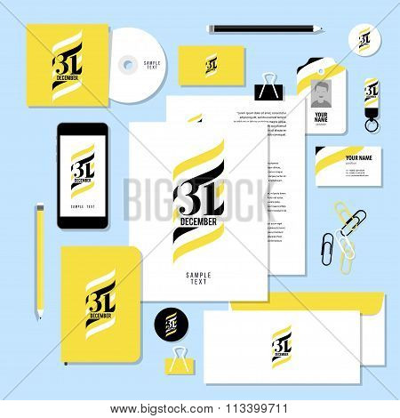 Vector stationery template design with new year elements and 31 number logo