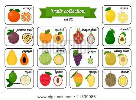 Set of Cards with Fruits