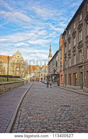 Street view to the Town Hall in the Old city in Tallinn in Estonia in winter