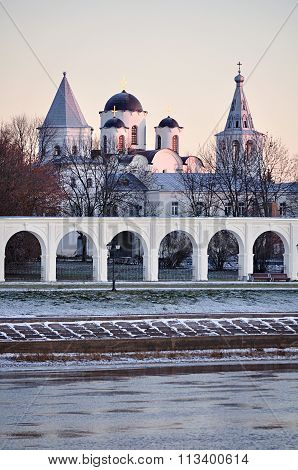 Yaroslav Courtyard At Winter Sunset, Veliky Novgorod, Russia