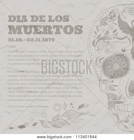 Vintage Poster Dia de Muertos Tattoo Skull Ornate Day of The Dead damaged paper
