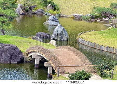 Curved Arch bridge in japanese garden