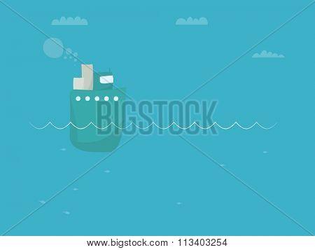 Cartoon steamship