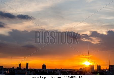 Dramatic Scenery Sunset Of The City Center At Bangkok, Thailand