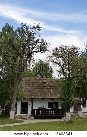 traditional rural house in open air museum, Bran, Romania