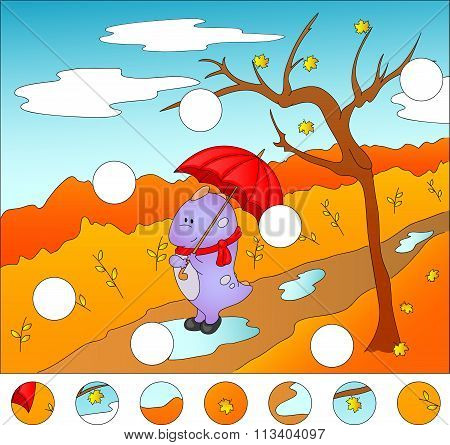 Purple Dragon With Umbrella In The Autumn Park. Complete The Puzzle And Find The Missing Parts Of Th