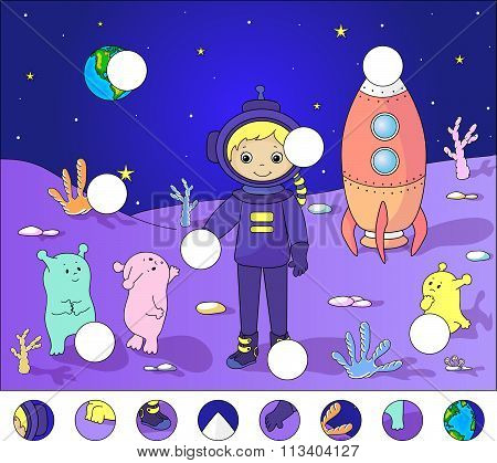 Astronaut With Aliens On The Surface Of Moon. Complete The Puzzle And Find The Missing Parts Of The