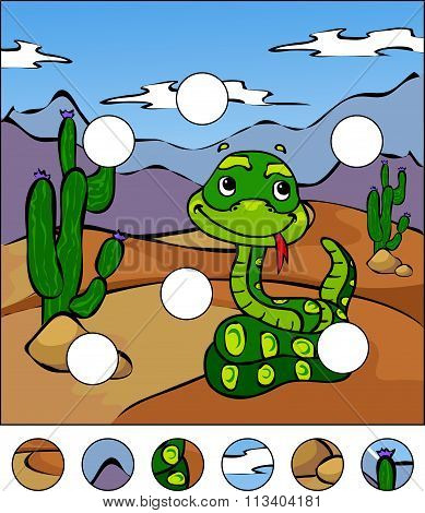 Cartoon Snake In The Desert. Complete The Puzzle And Find The Missing Parts Of The Picture. Vector I