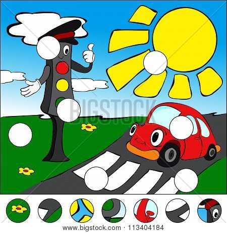 Car And Traffic Lights On The Road On A Pedestrian Crossing. Complete The Puzzle And Find The Missin
