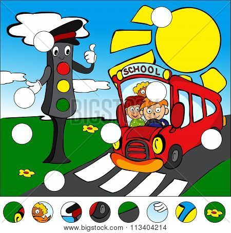 Bus And Traffic Lights On The Road On A Pedestrian Crossing. Complete The Puzzle And Find The Missin