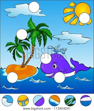 A Big Whale Swiming In The Sea. Complete The Puzzle And Find The Missing Parts Of The Picture. Vecto