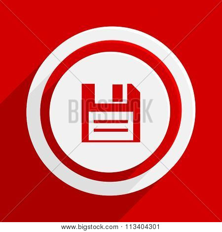 disk red flat design modern vector icon for web and mobile app