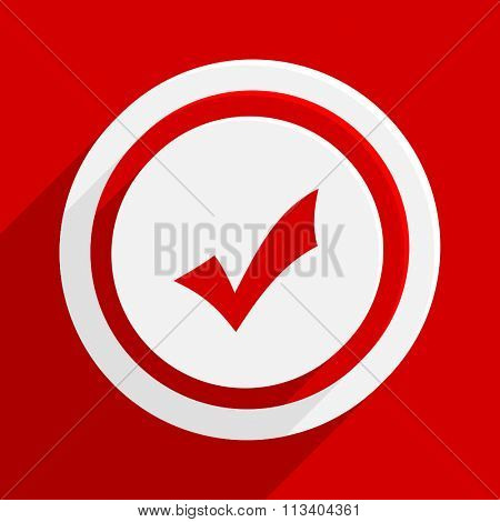accept red flat design modern vector icon for web and mobile app
