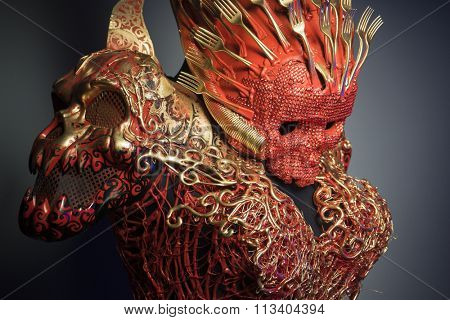 bright red skull handmade fantasy warrior costume with gold and forms