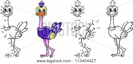 Cartoon Ostrich. Vector Illustration. Coloring And Dot To Dot Game For Kids