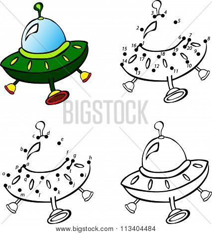 Cartoon Flying Saucer. Vector Illustration. Coloring And Dot To Dot Game For Kids