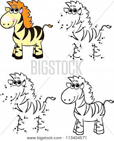 Cartoon Zebra. Vector Illustration. Coloring And Dot To Dot Game For Kids