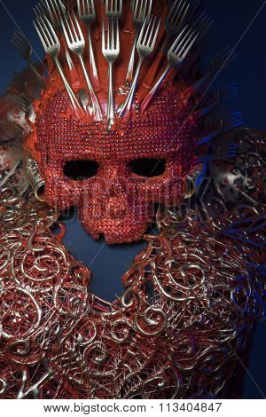 fashion bright red skull handmade fantasy warrior costume with gold and forms