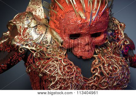 halloween, bright red skull handmade fantasy warrior costume with gold and forms