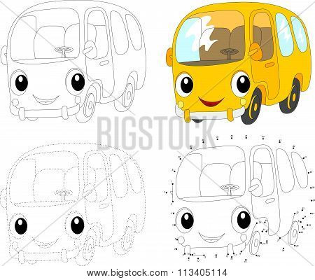 Cartoon Yellow Bus. Vector Illustration. Dot To Dot Game For Kids