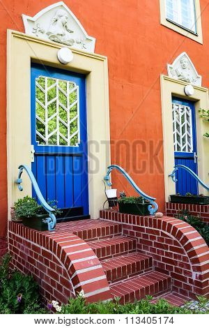 House with blue doors in Potsdam, Germany