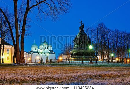 The Monument Millennium Of Russia And Sophia Cathedral In Veliky Novgorod, Russia