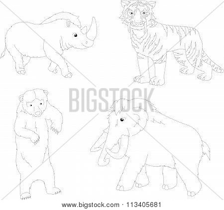 Set Of Mammoth, Prehistoric Bear, Saber-toothed Tiger And Rhino. Dot To Dot Educational Game For Kid