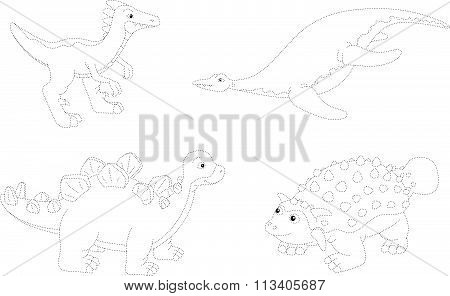 Set Of Parasaurolophus, Ankylosaurus, Ichthyosaurus And Stegosaurus. Dot To Dot Educational Game For