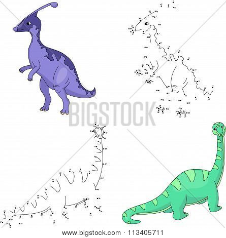 Cartoon Parasaurolophus And Diplodocus. Vector Illustration. Dot To Dot Game For Kids