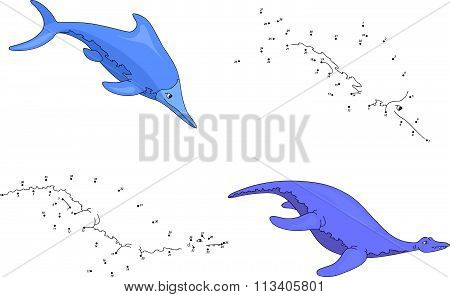 Cartoon Ichthyosaurus And Pliosaurus. Vector Illustration. Dot To Dot Game For Kids