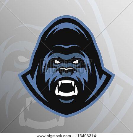 Angry Gorilla symbol, emblem, sport logo.